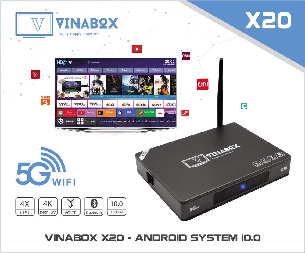 VINABOX X20 - RAM 2GB, MẪU VINABOX MỚI NHẤT NĂM 2020 ANDROID 10 SIÊU MƯỢT
