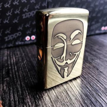 ZIppo Armor đồng chính hãng 5 mặt khắc V for Vendetta