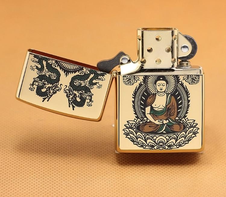 Zippo Phật mạ vàng 24k 4