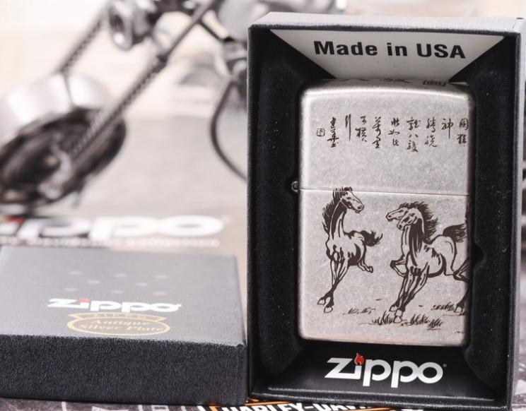 Zippo mã đáo thành công bạc giả cổ 5 mặt