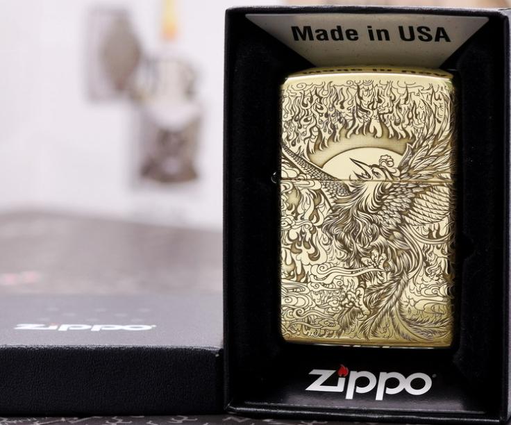 Zippo phượng hoàng đồng thau armor vỏ dày