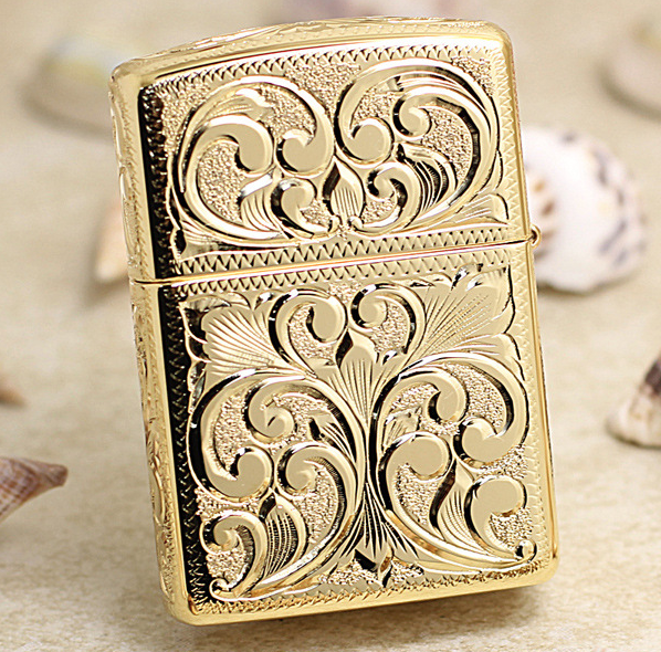 Zippo hoa văn nổi 5 mặt Gold mạ vàng
