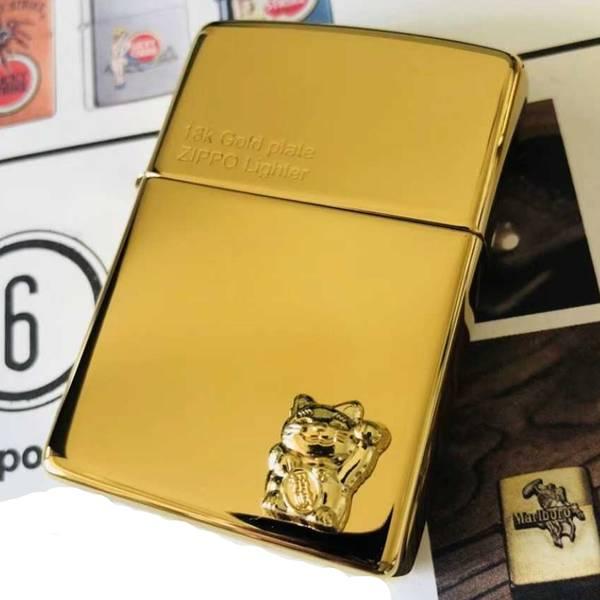 Zippo 18k mạ vàng mẫu heo hay mèo Nhật