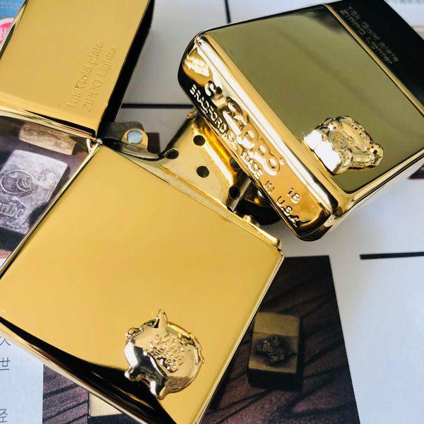 Zippo 18k mạ vàng mẫu heo hay mèo Nhật 1