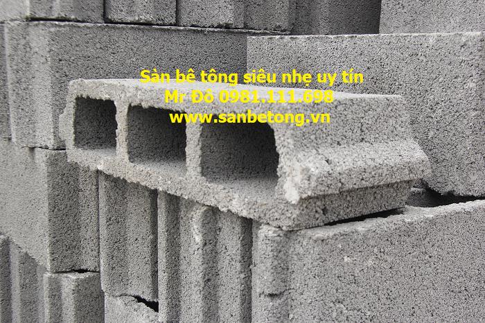 Sàn bê tông siêu nhẹ sử dụng gach block nhẹ giúp giảm trạng tải sàn - trần nhà