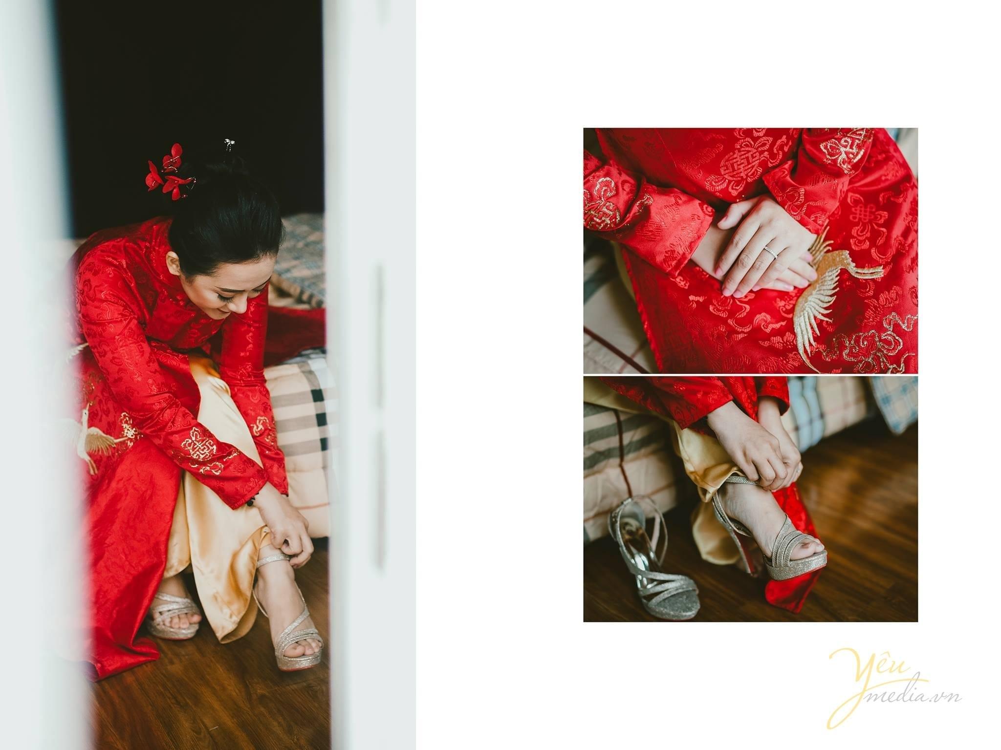 phóng sự cưới cô dâu đi giày chuẩn bị trang phục cưới