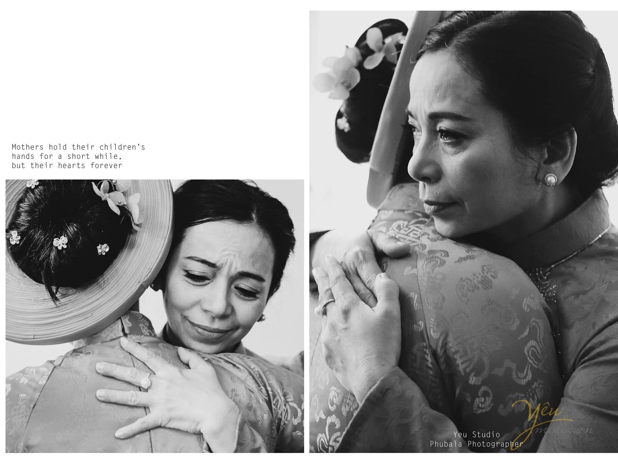 ảnh phóng sự cưới mẹ ôm con gái trước giờ đón dâu