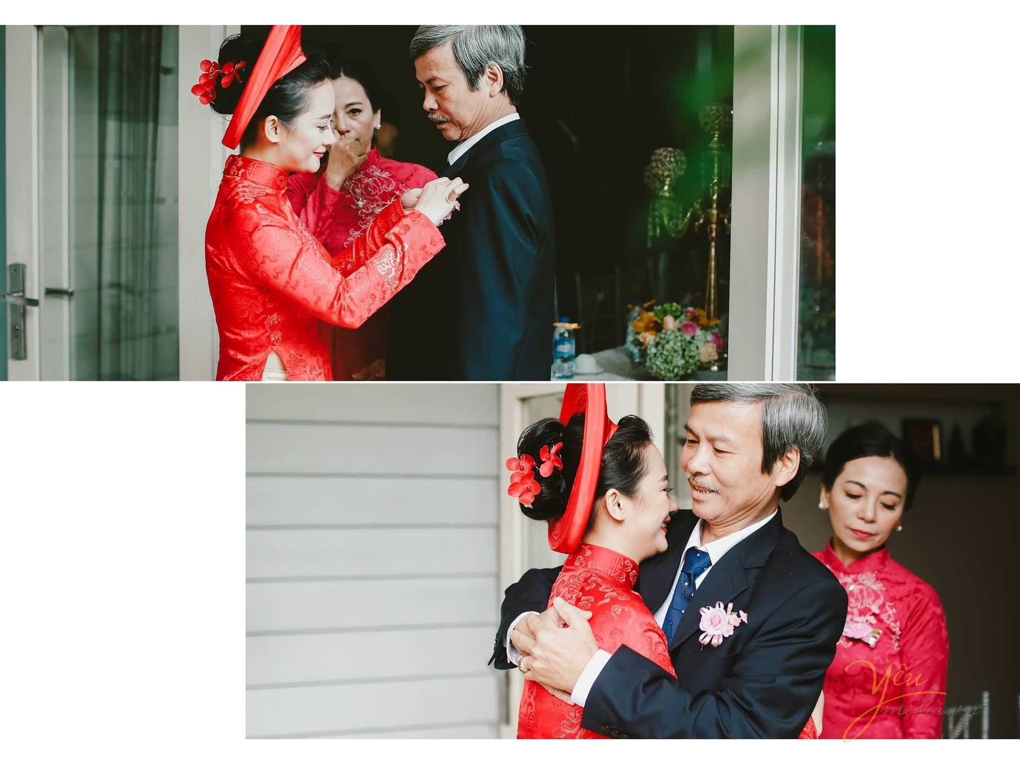con gái cài hoa lên áo cho ba trước khi đón dâu