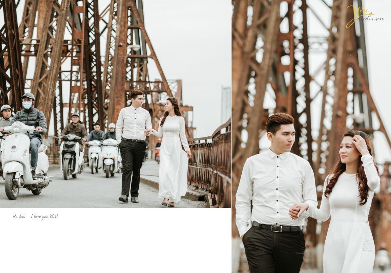 ảnh cưới áo dài chụp cầu long biên
