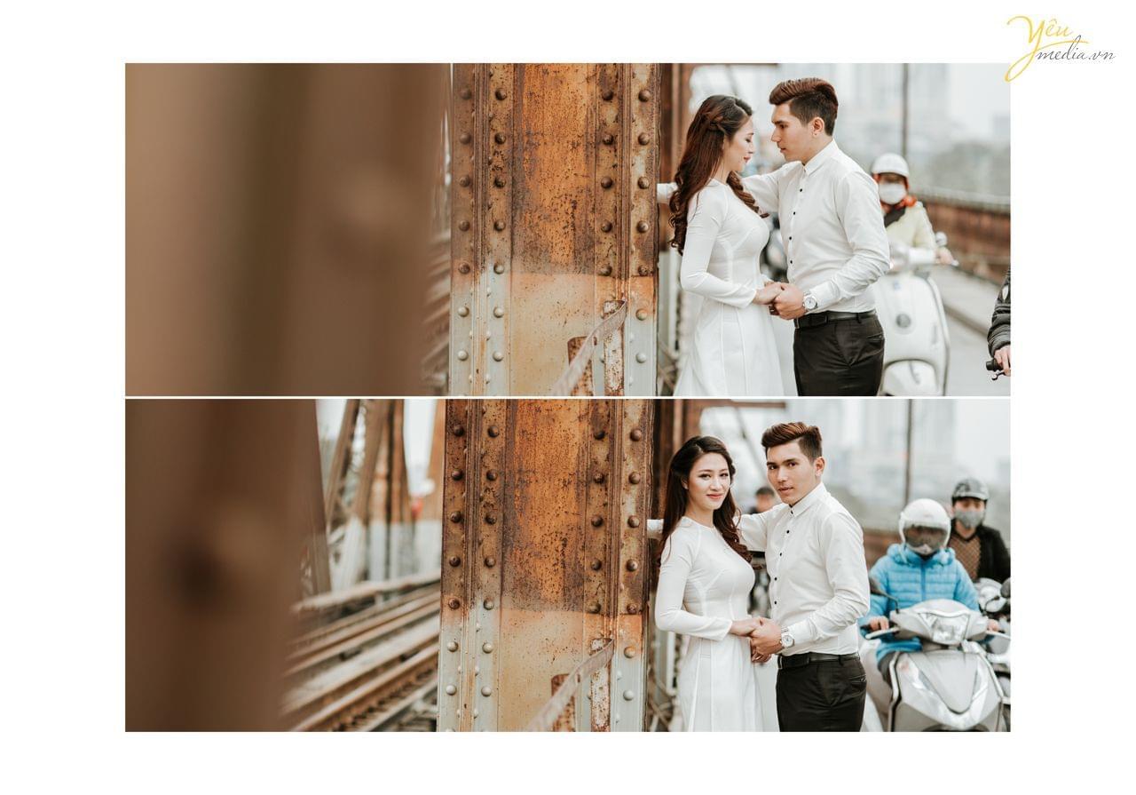 ảnh cưới chụp cạnh thành cầu long biên