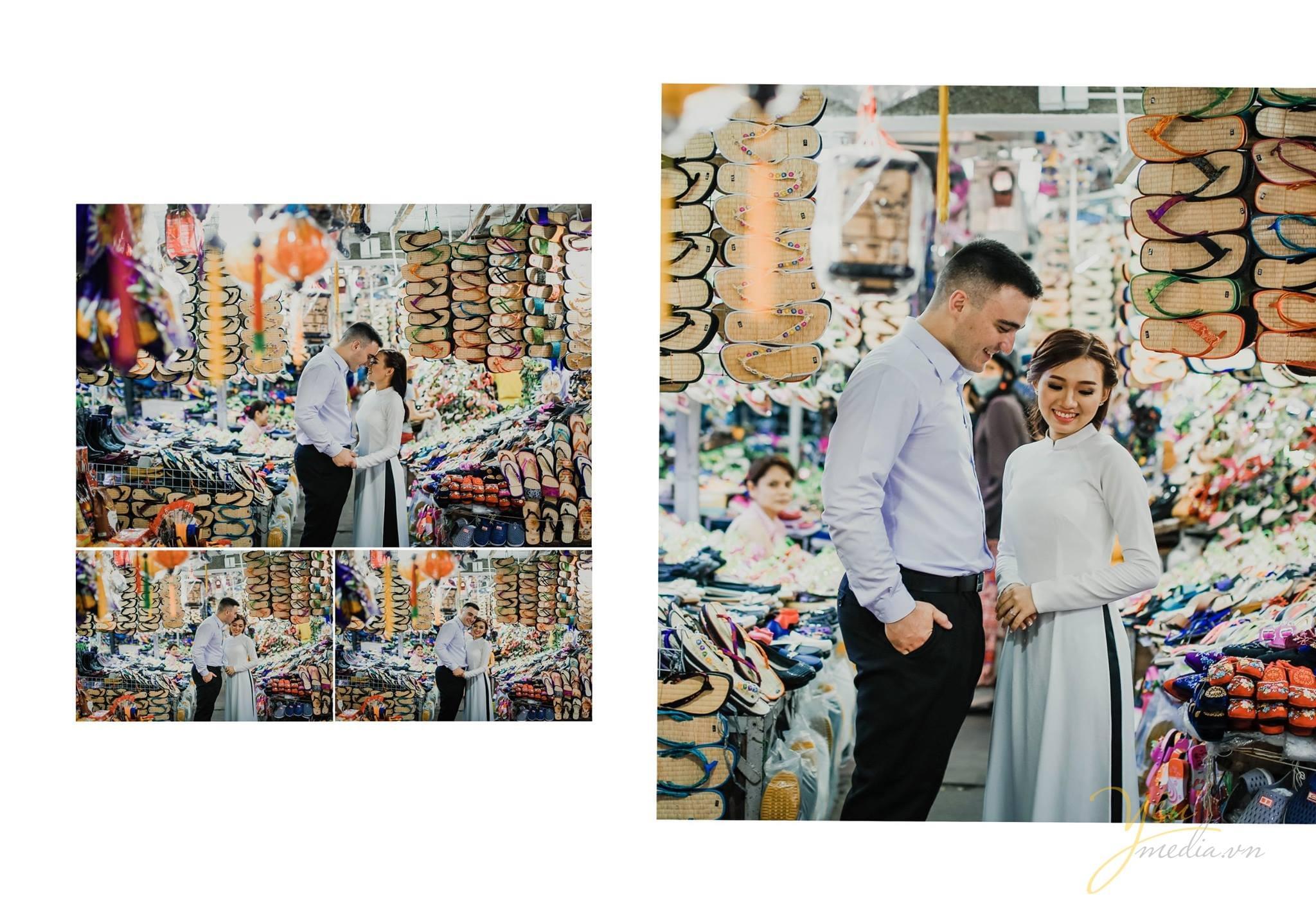 ảnh cưới chụp street style tại chợ đông ba huế