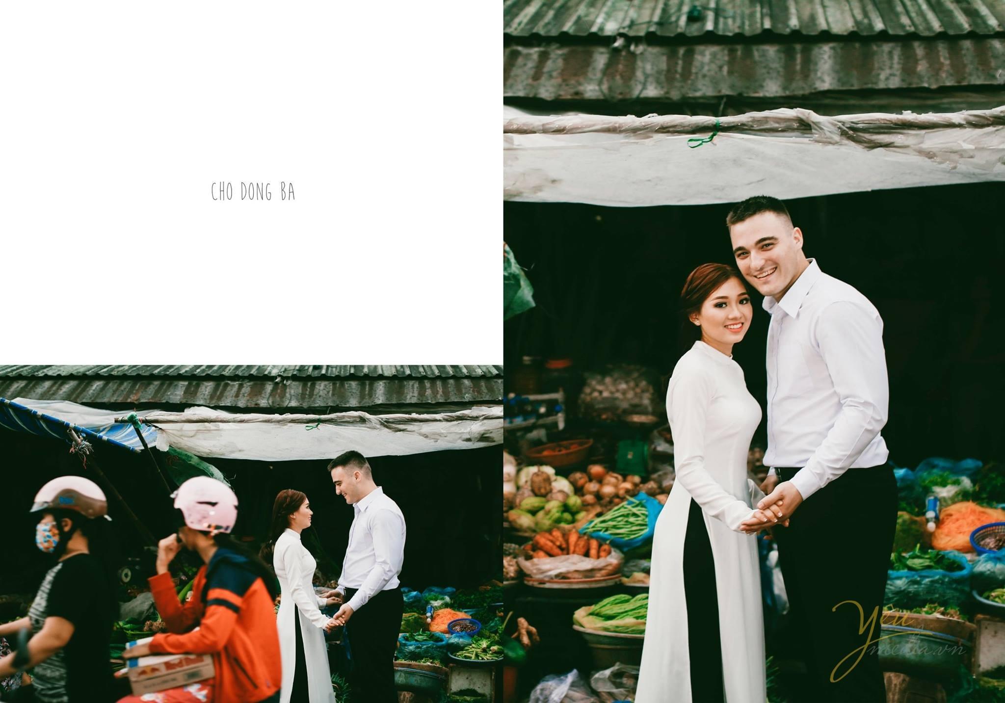 ảnh cưới áo dài sơ mi trắng chụp tại chợ đông ba huế