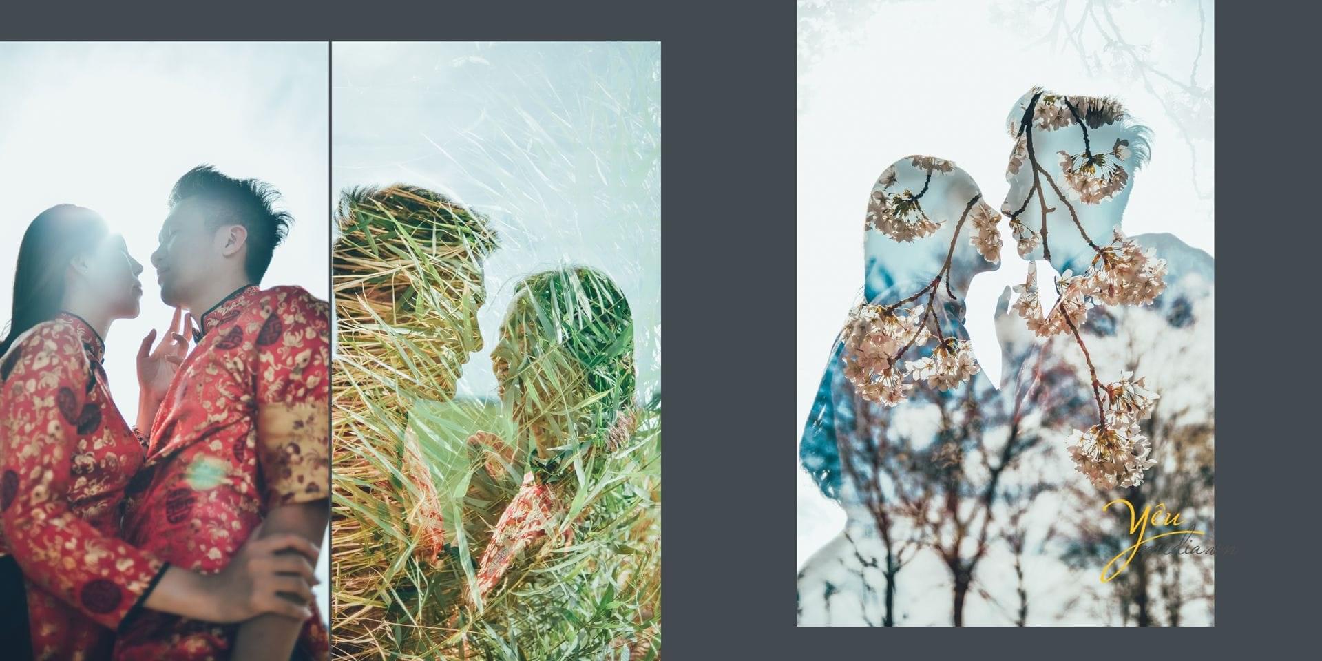 ảnh cưới in bóng cỏ cây hoa lá lên hình cô dâu chú rể