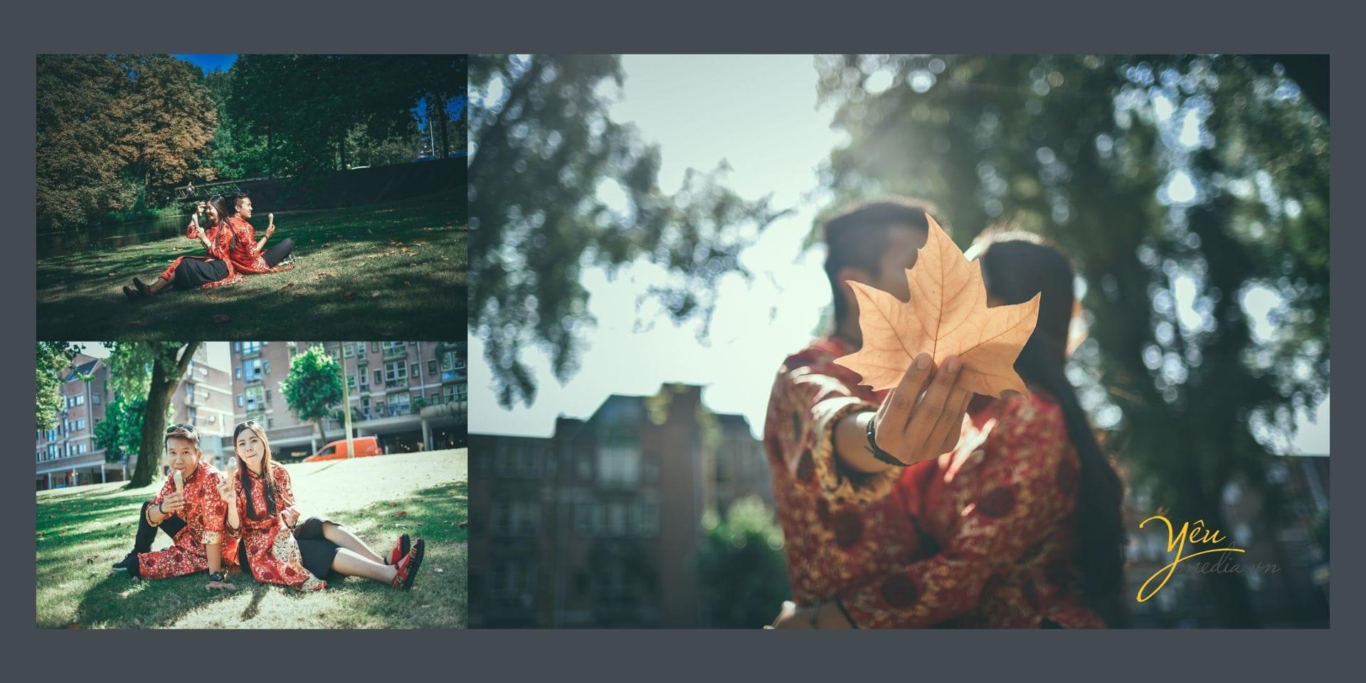 ảnh chụp cô dâu chú rể ăn kem bên bãi cỏ