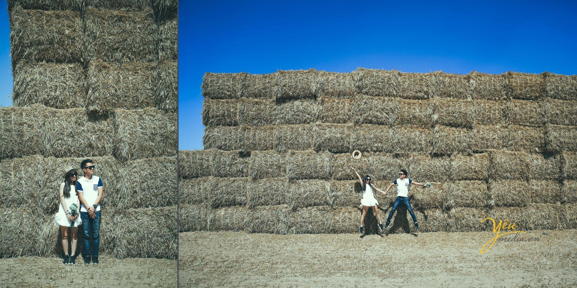 ảnh cưới ngoại cảnh chụp đồi cỏ châu âu