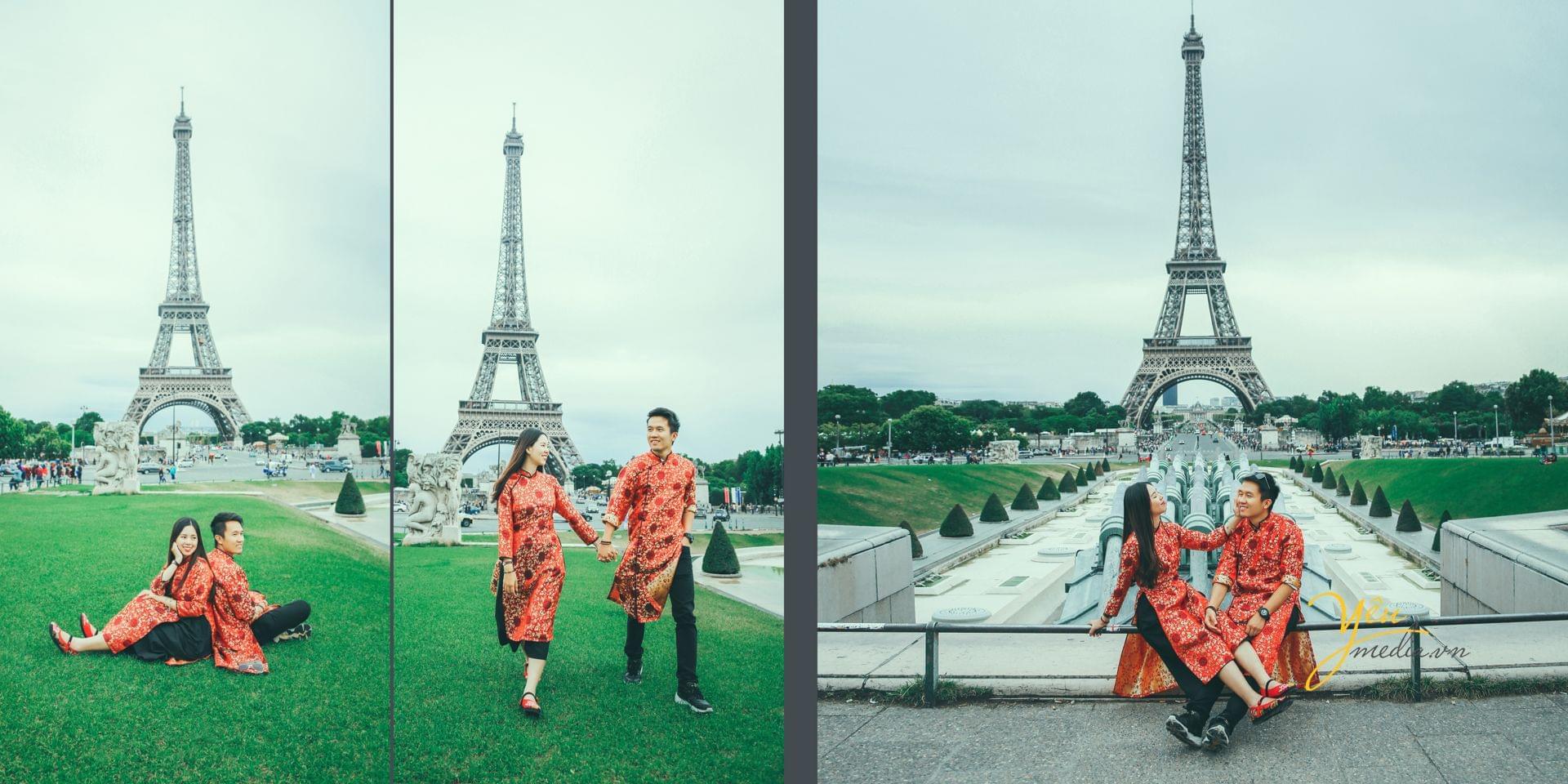 ảnh cưới ngoại cảnh chụp trước tháp eiffel