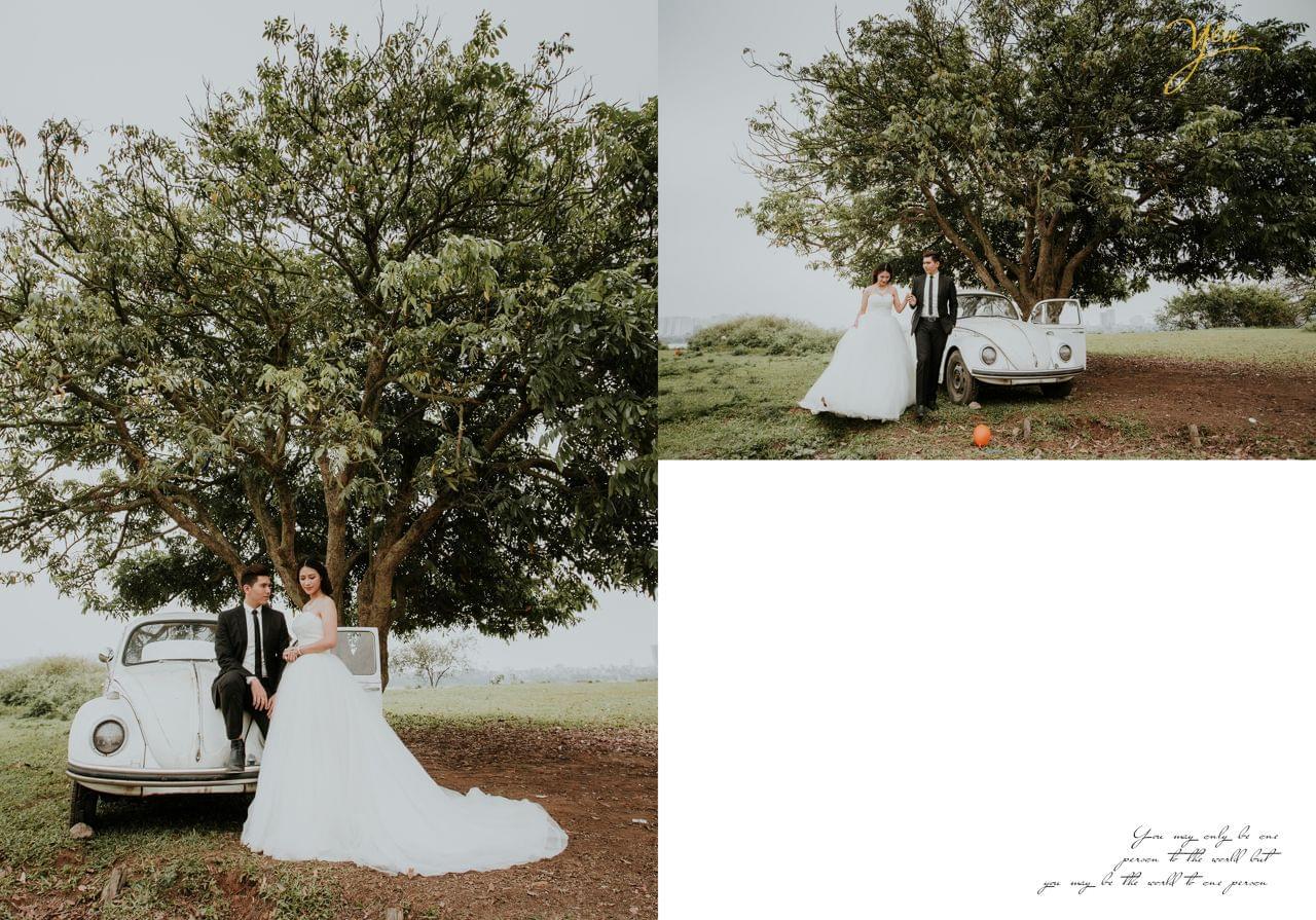 ảnh cưới chụp vườn nhãn vĩnh tuy cùng ô tô cổ