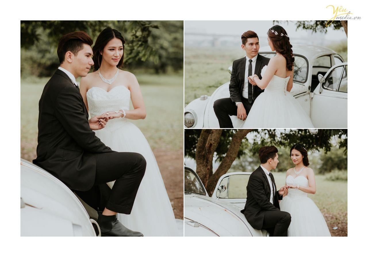 ảnh cưới vườn nhãn vĩnh tuy chú rể cầm tay cô dâu