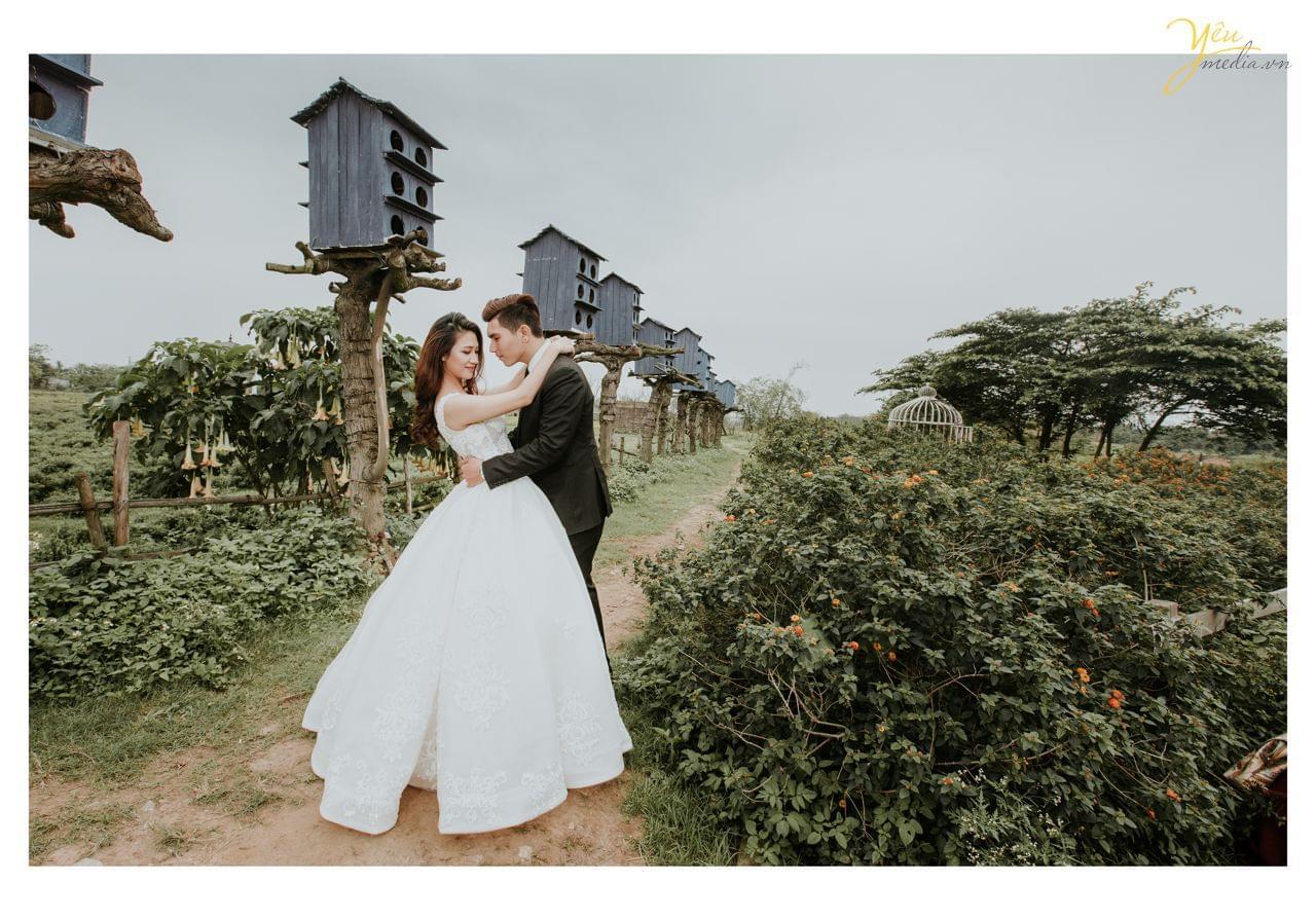 ảnh cưới đẹp chụp cạnh tổ chim tại thảo nguyên hoa long biên