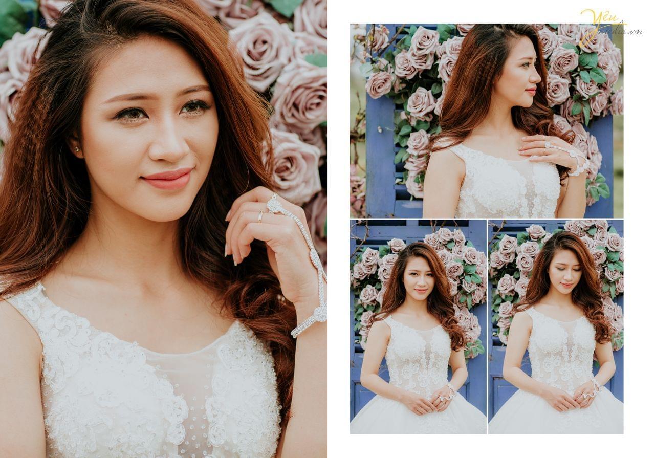 ảnh cưới chụp cô dâu concept tường hoa hồng thảo nguyên hoa long biên