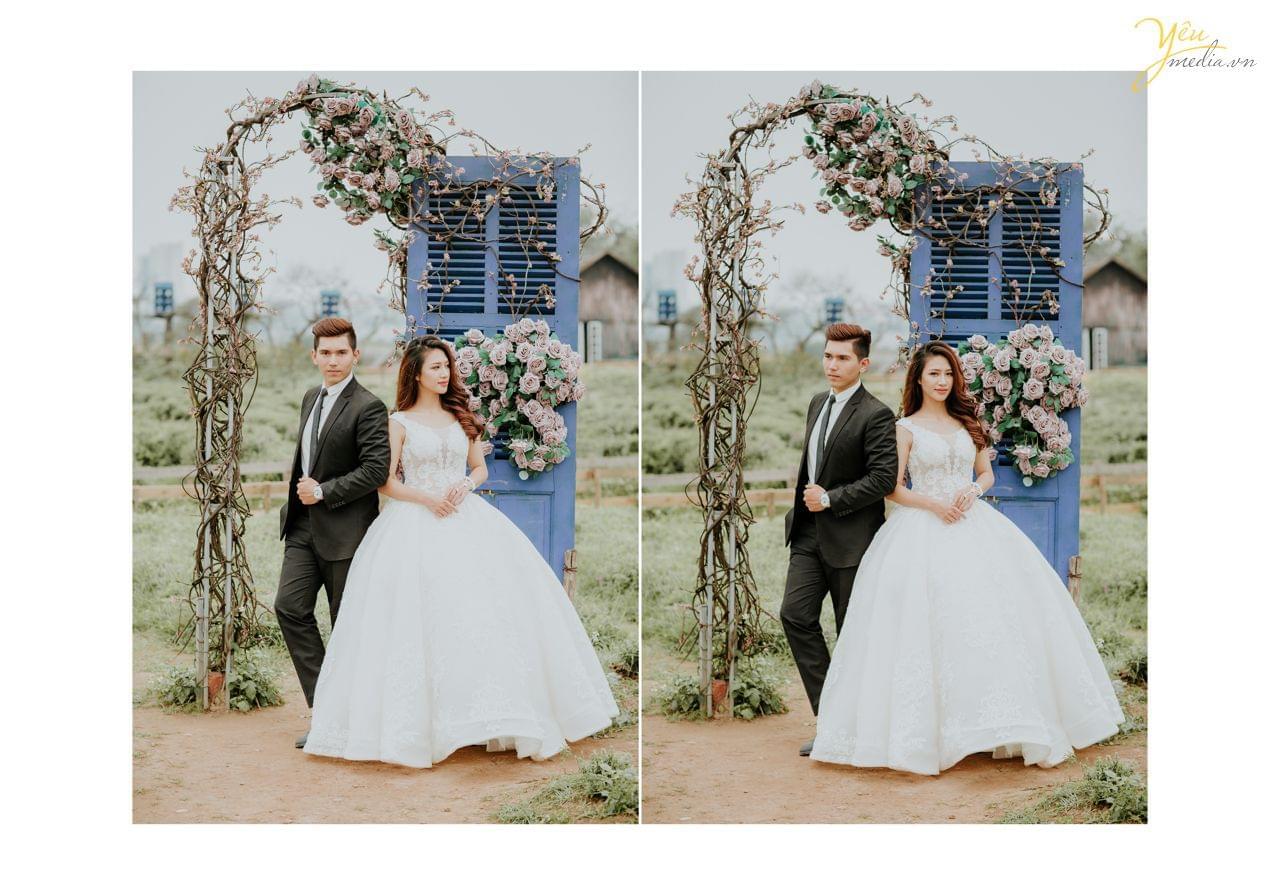 ảnh cưới chụp concept dàn hoa trước cửa nhà thảo nguyên hoa long biên