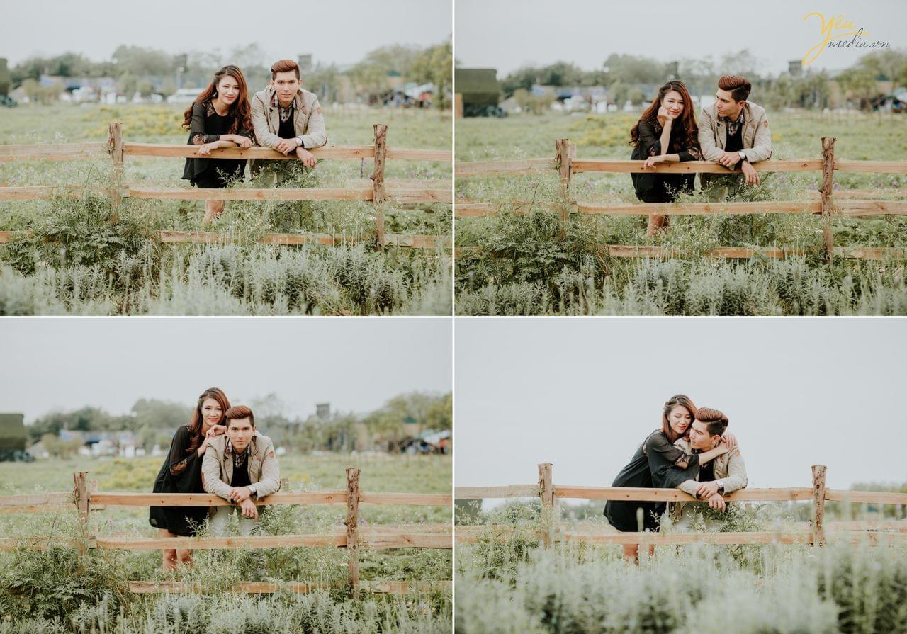 ảnh cưới trang phục đời thường chụp đồng cỏ