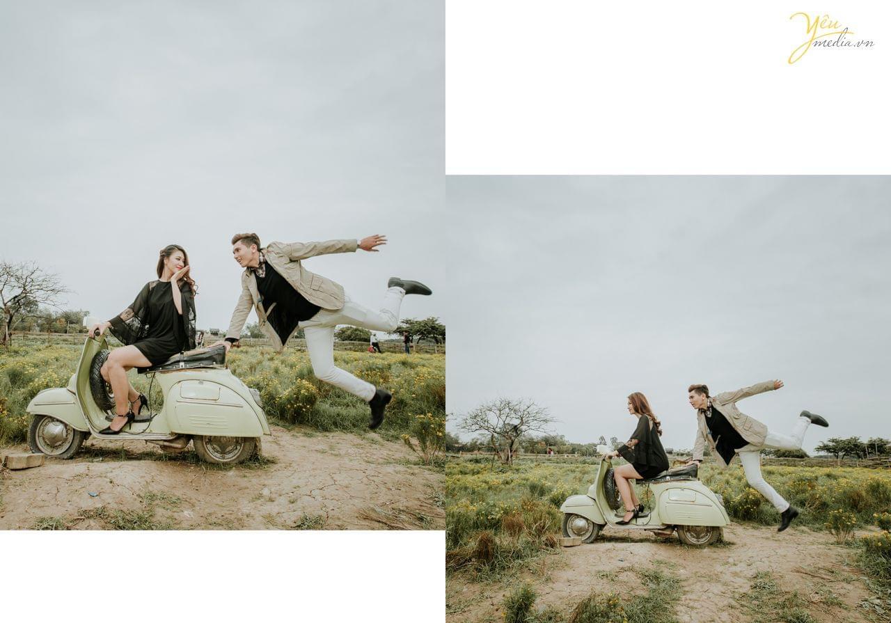ảnh cưới chụp cùng vespa cổ chú rể bám đuôi xe cô dâu
