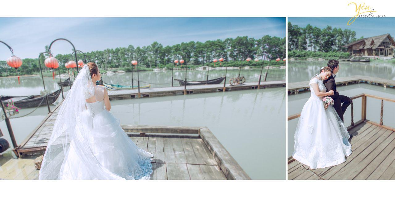 ... ảnh cưới đẹp chụp phía sau lưng cô dâu ...