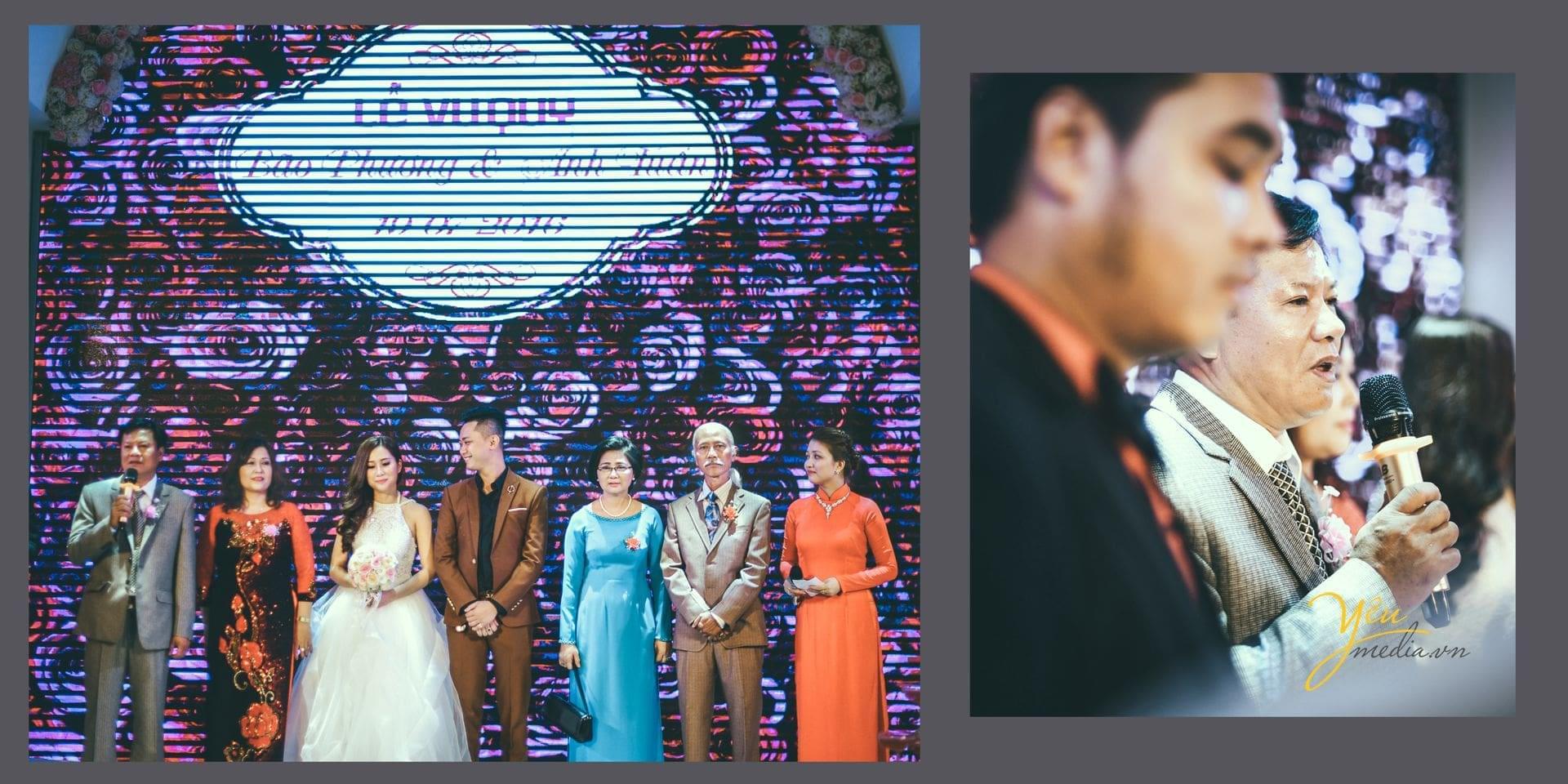 ảnh chụp tại lễ cưới gia đình 2 bên phát biểu