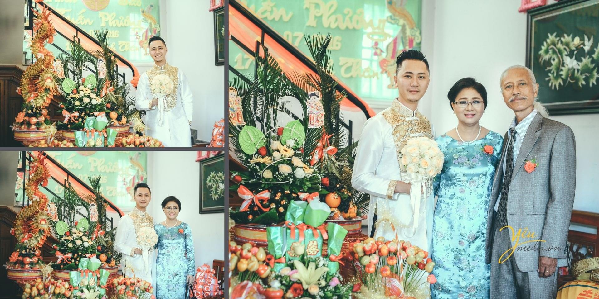 gia đình chú rể chuẩn bị đồ đi đón dâu
