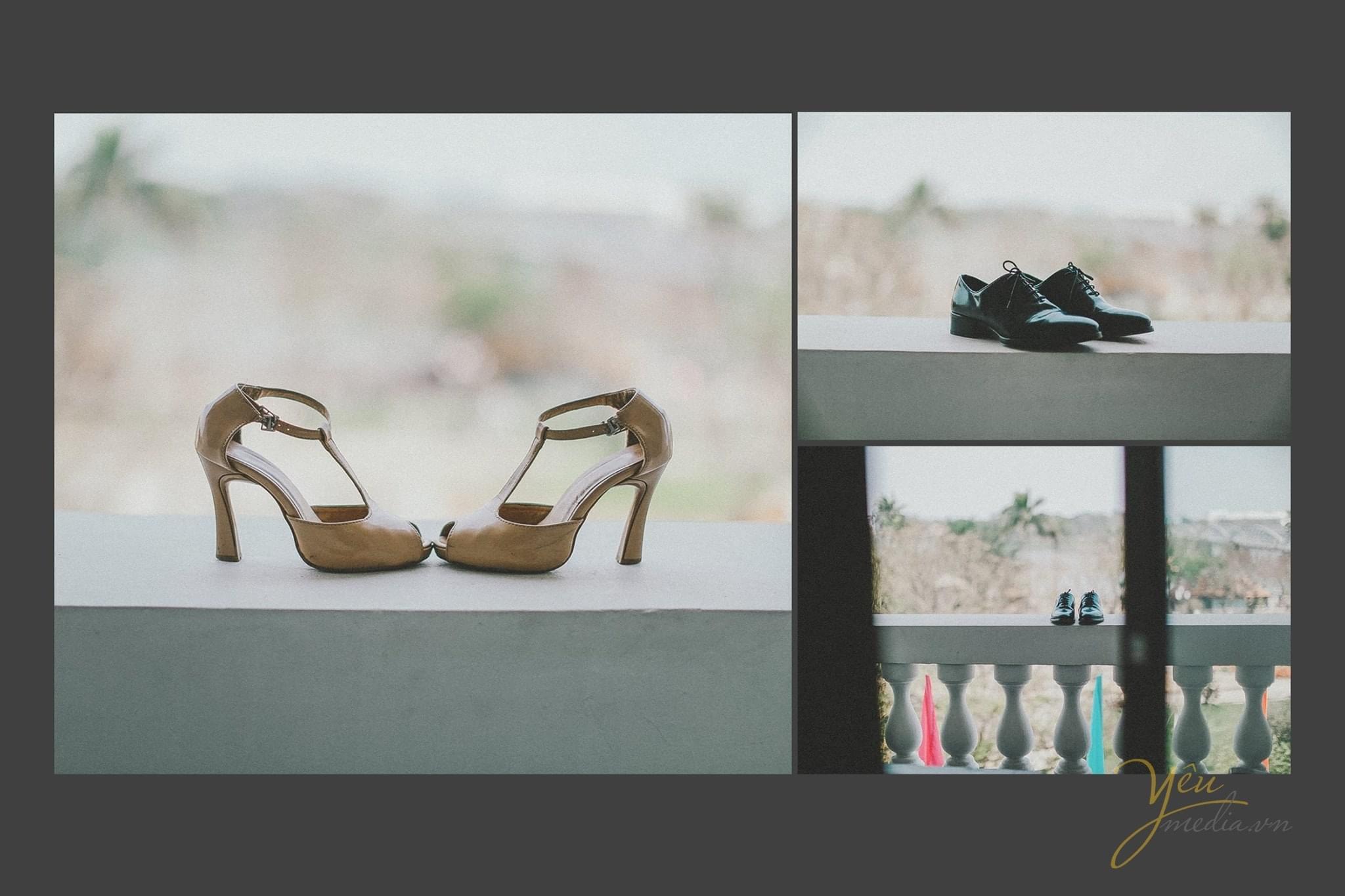 ảnh chụp phụ kiện giày cưới của cô dâu chú rể