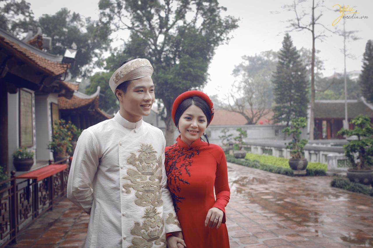 ảnh chụp cưới áo dài truyền thống