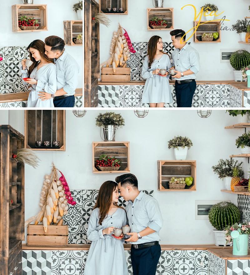 chụp ảnh cưới phong cách giản dị đời thường trong nhà bếp đẹp