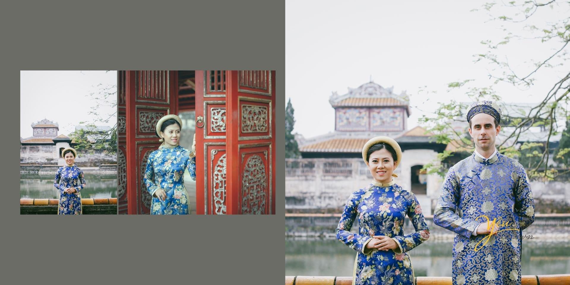 ảnh cưới chụp đại nội cửa sơn son thếp vàng