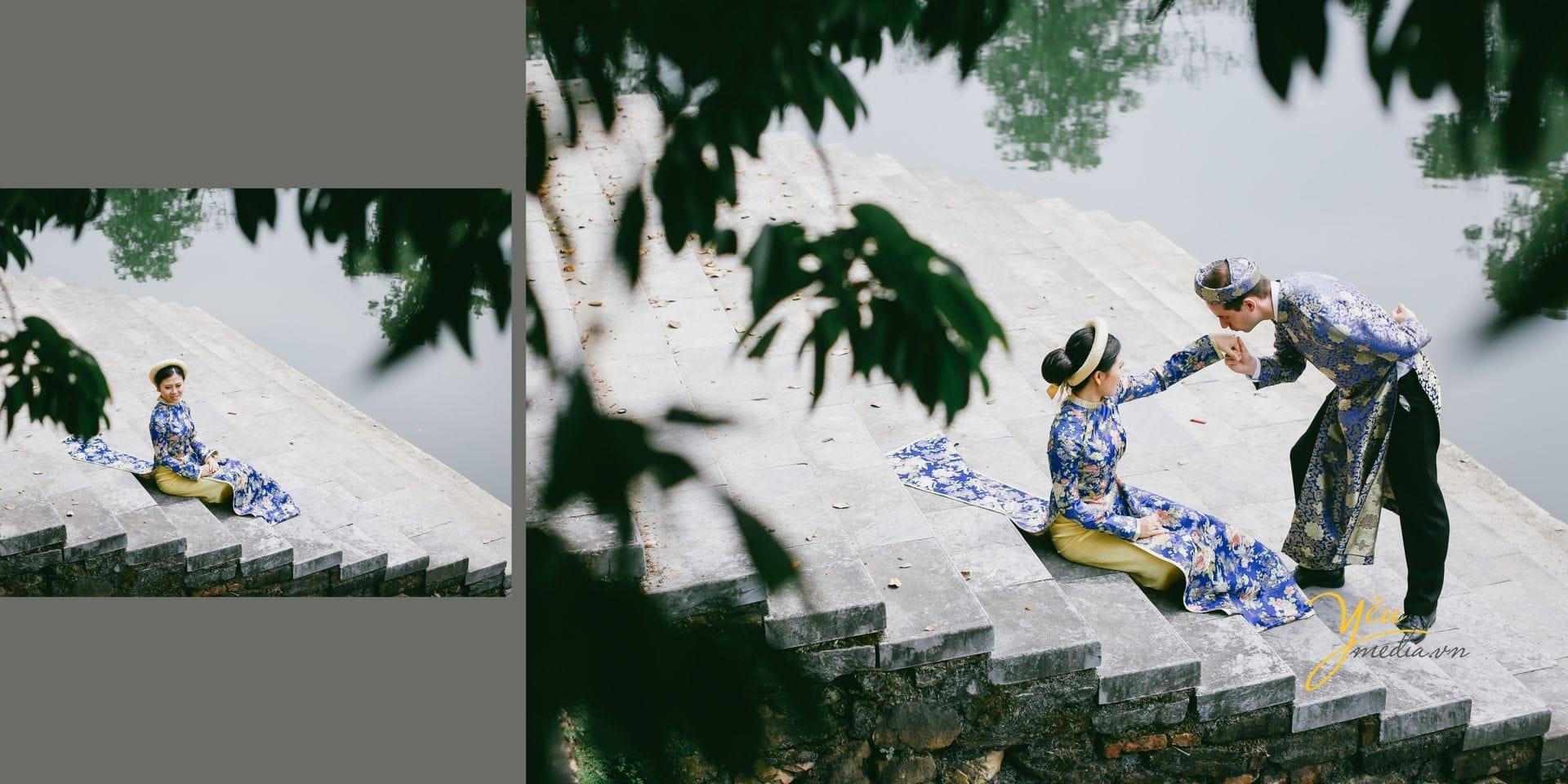 ảnh cưới chụp áo dài cổ truyền tại bậc thềm đại nội huế