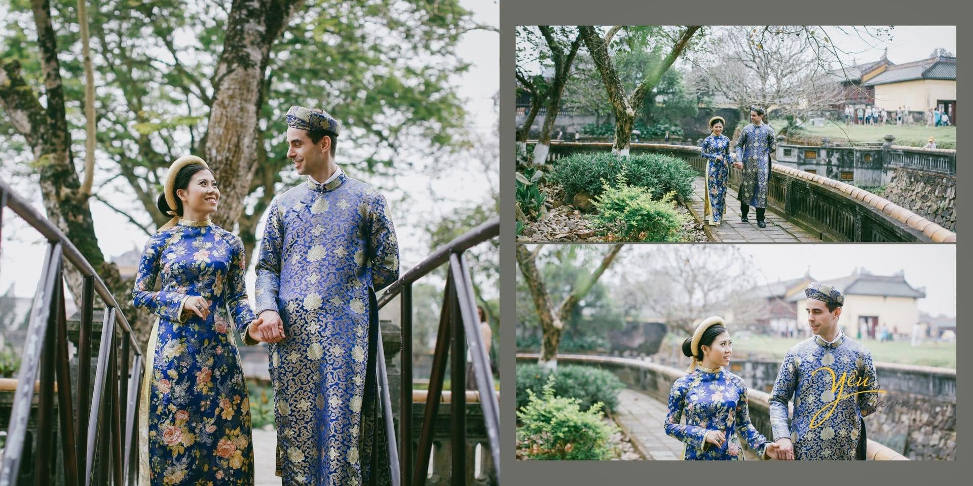 cô dâu chú rể mặc áo dài cổ truyền nắm tay nhau đi trên cầu