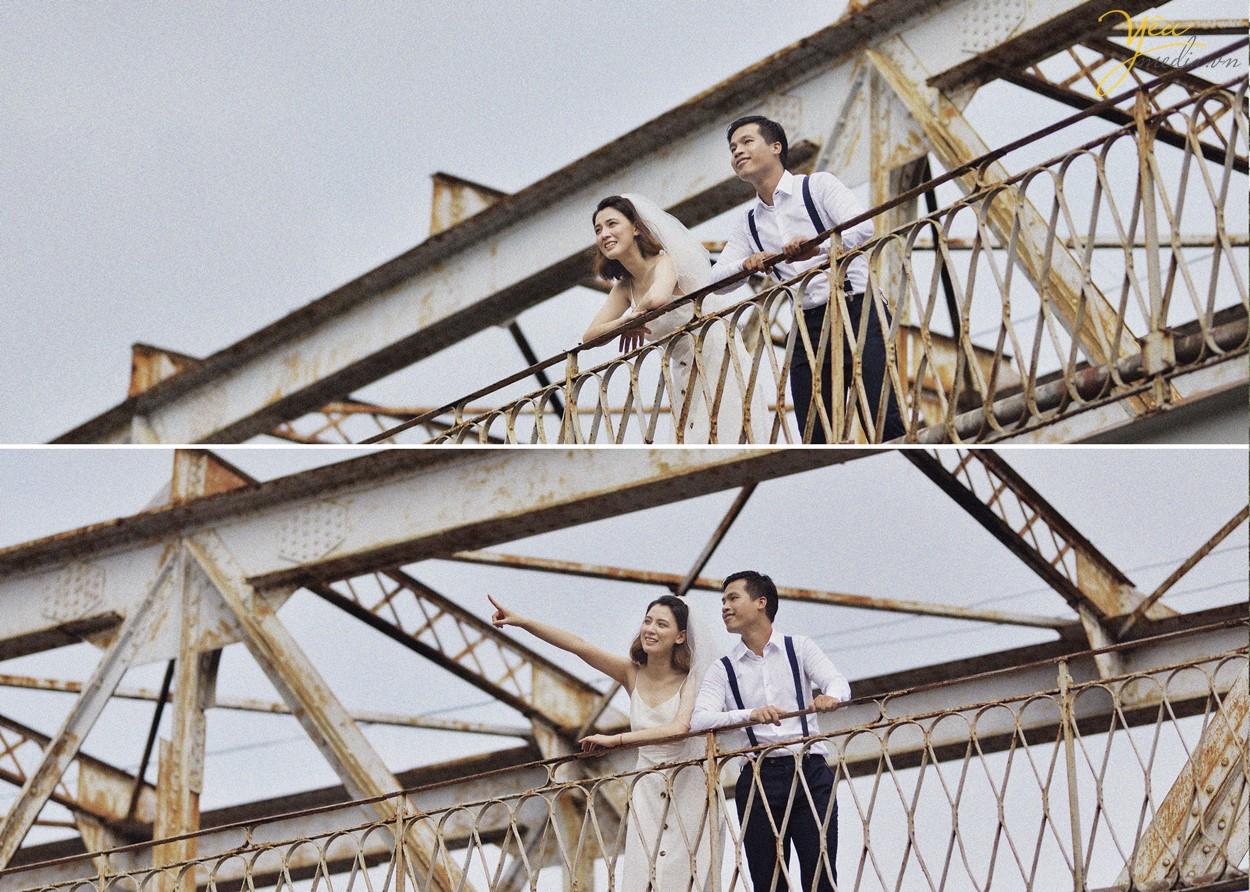 chụp ảnh cưới phong cách cổ xưa trên cầu long biên