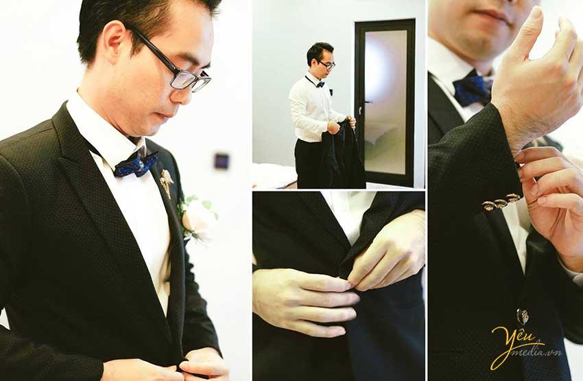 chú rể mặc vest chuẩn bị đi đón dâu