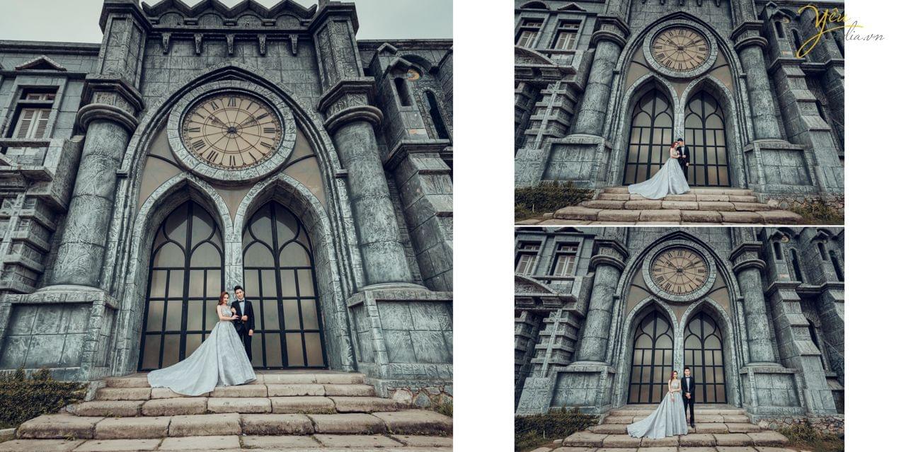 ảnh cưới chụp váy dạ hội trước cổng thành thời la mã