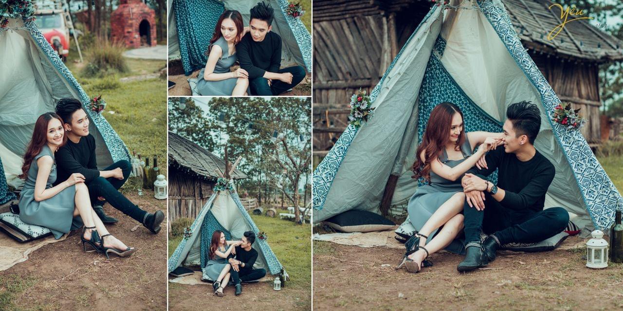 ảnh cưới ngoại cảnh trang phục đời thường chụp cùng lều dã ngoại