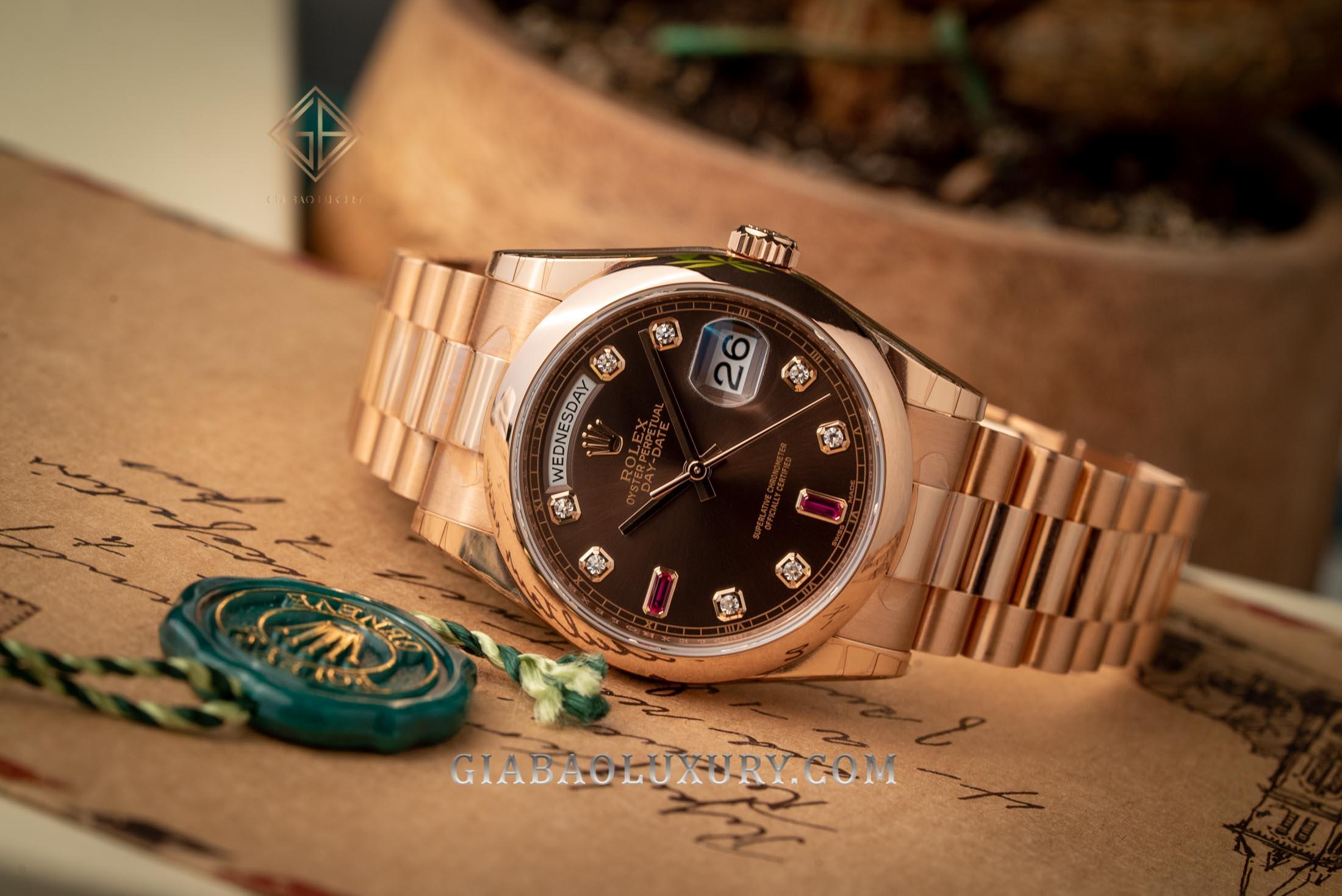 Đồng hồ Rolex Day-Date 118205 Mặt số chocolate Ruby đỏ dây President