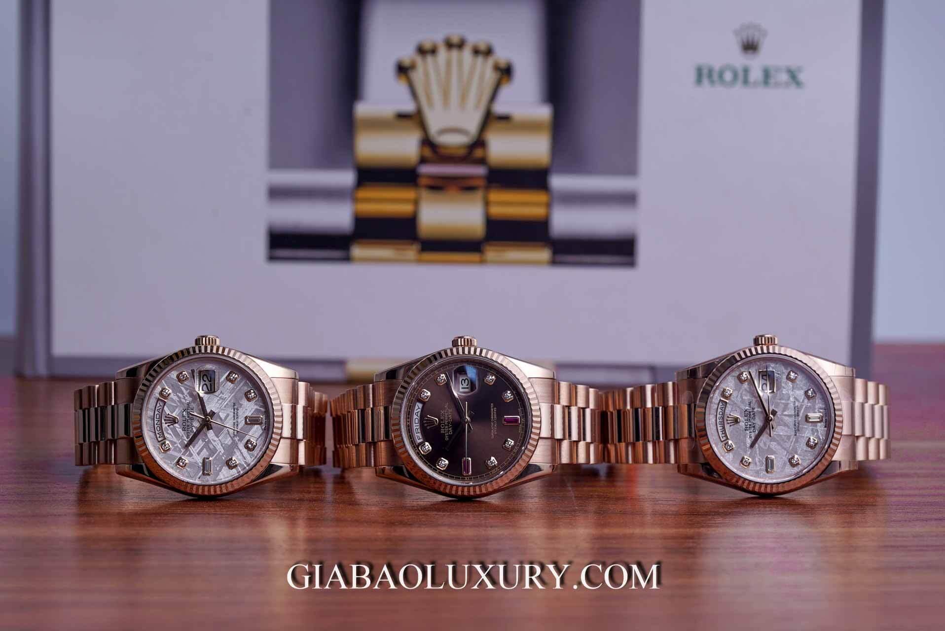Đồng hồ Rolex Day Date 118235 Mặt Số Đá Thiên Thạch