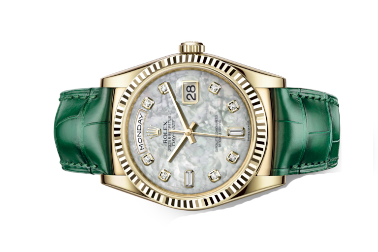 Đồng Hồ Rolex Day-Date 118138 Mặt Số Vỏ Trai Trắng