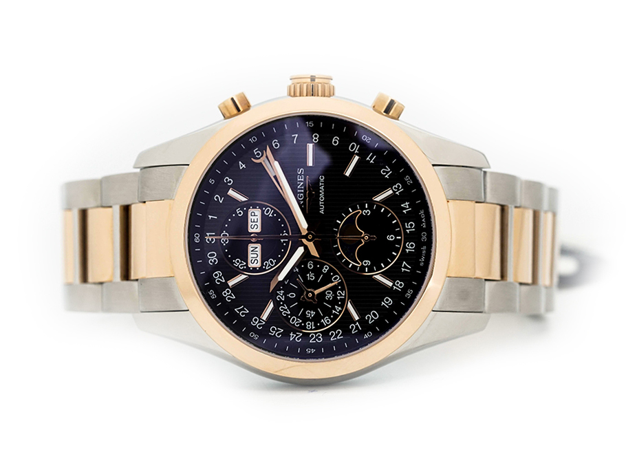 Đồng Hồ Longines Conquest Chronograph Moonphase Mặt Đen