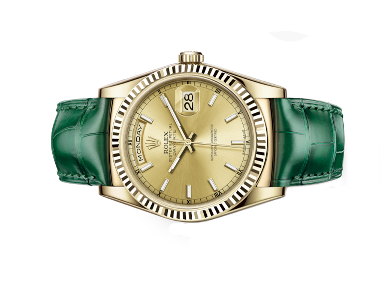 Đồng Hồ Rolex Day-Date 36 118138 Mặt Số Champagne Dây Xanh Lá