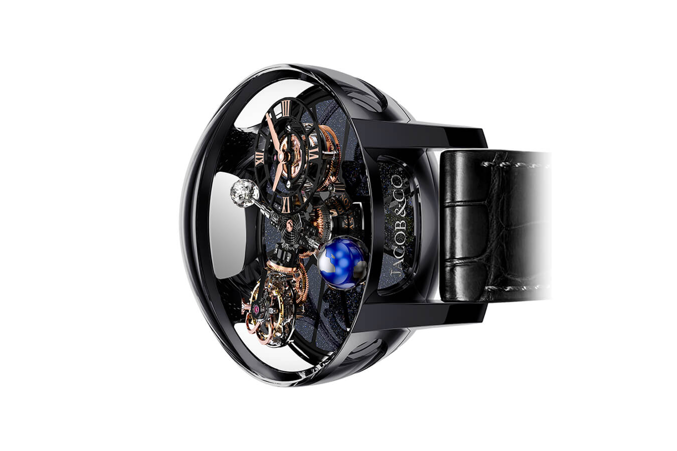Đồng Hồ Jacob & Co Astronomia Tourbillon Black Ceramic Black & Rose Gold Movement AT100.40.95.KN.SD.B