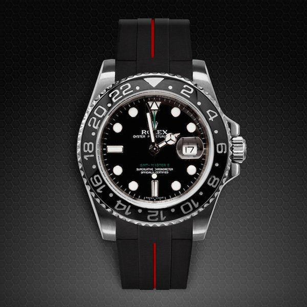 Dây cao su Rubber B đồng hồ Rolex GMT Master II Ceramic - Tang Buckle Series VulChromatic®