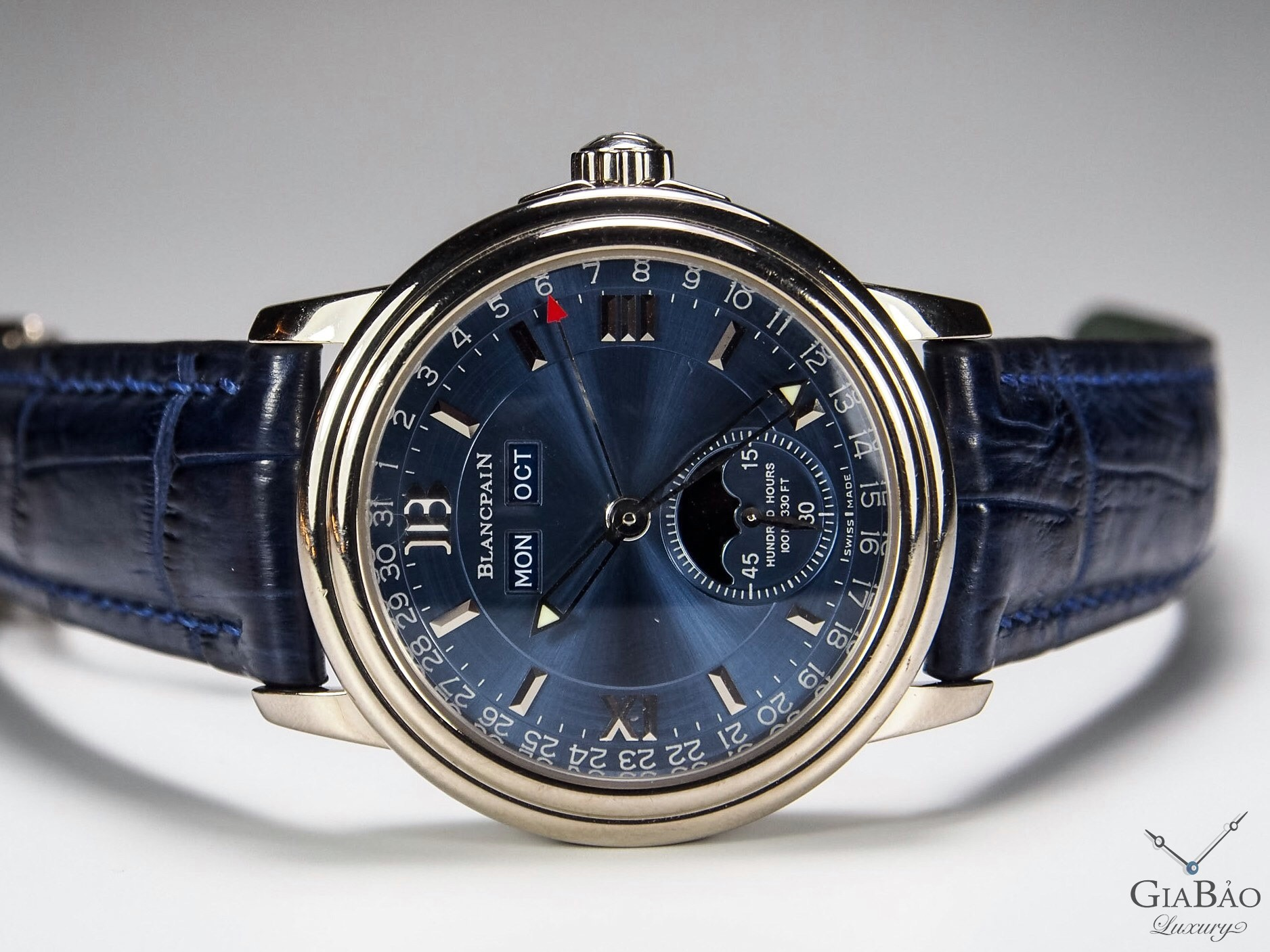 Đồng Hồ Blancpain Leman Moonphase Complete Calendar Mặt Số Xanh