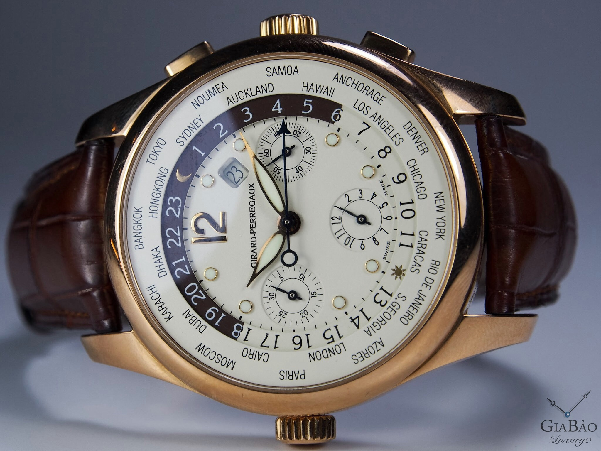 Đồng Hồ Girard-Perregaux World Time Chronograph Gold 18k