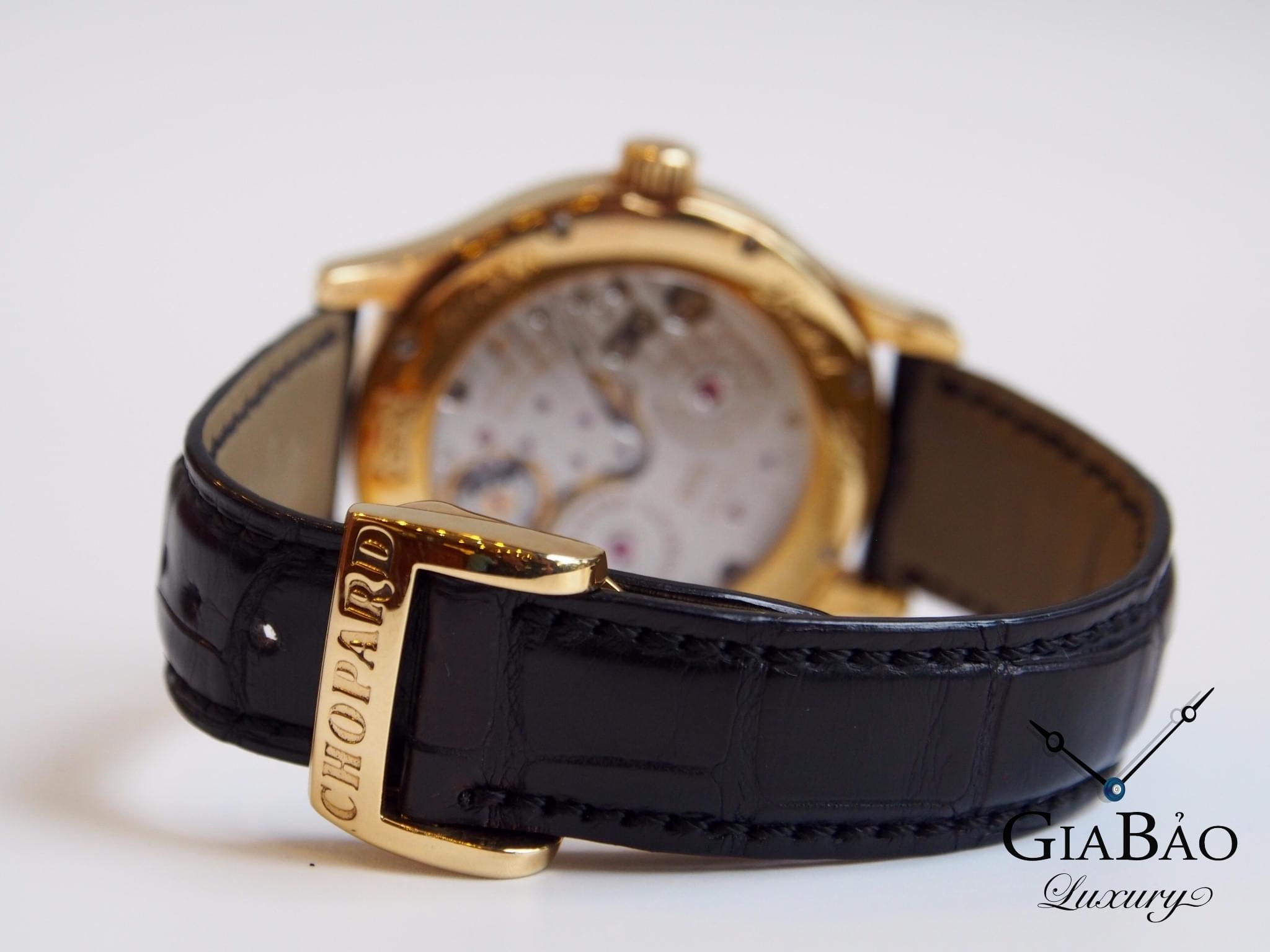 Đồng Hồ Chopard L.U.C Regulator Sliver And Black Dial Black Leather